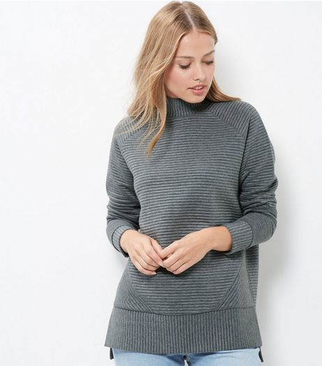 Grey Ribbed Funnel Neck Sweater | New Look