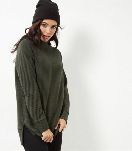 Khaki Ribbed Turtle Neck Sweater | New Look