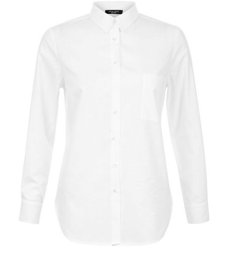 Petite White Long Sleeve Shirt | New Look