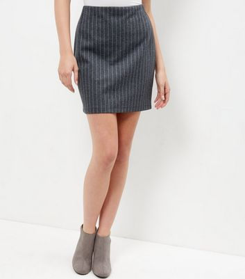 Grey Pinstripe Tube Skirt