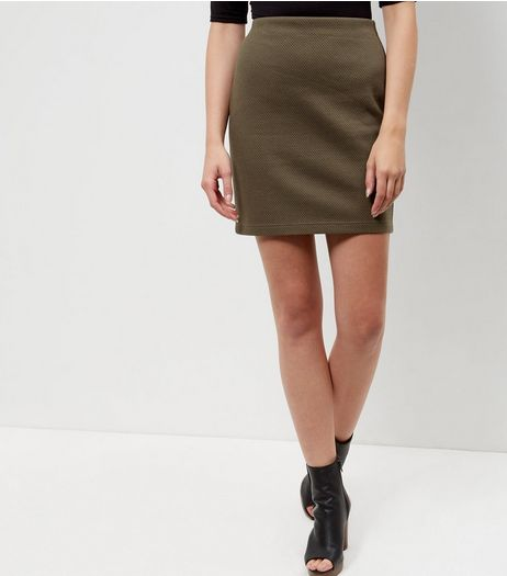 Khaki Textured Tube Skirt | New Look