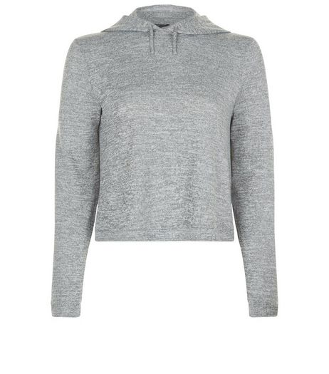 Teens Grey Fine Knit Crop Hoodie | New Look