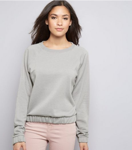 Pale Grey Elastic Hem Long Sleeve Sweater  | New Look