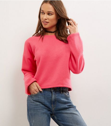Bright Pink Wide Sleeve Sweater  | New Look