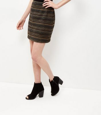 Green Jacquard Stripe A-Line Skirt