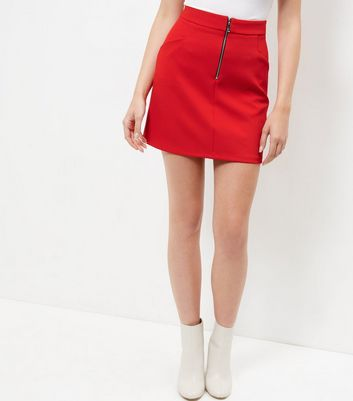 red-crepe-zip-front-a-line-skirt