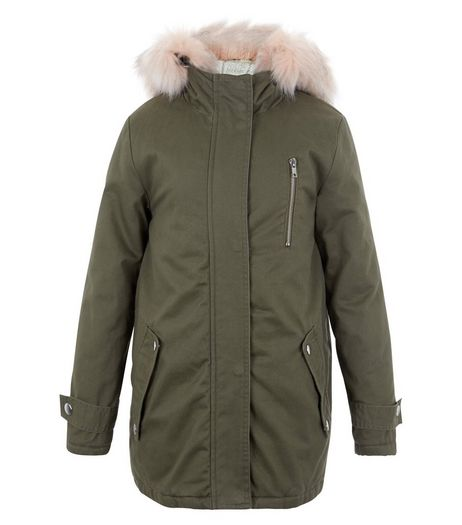 Girls Khaki Faux Fur Trim Hooded Parka | New Look