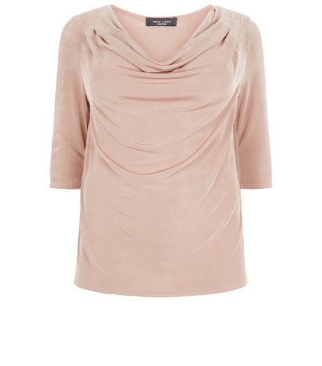 Curves Shell Pink Cowl Neck Top | New Look