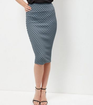 Blue Tile Print Pencil Skirt