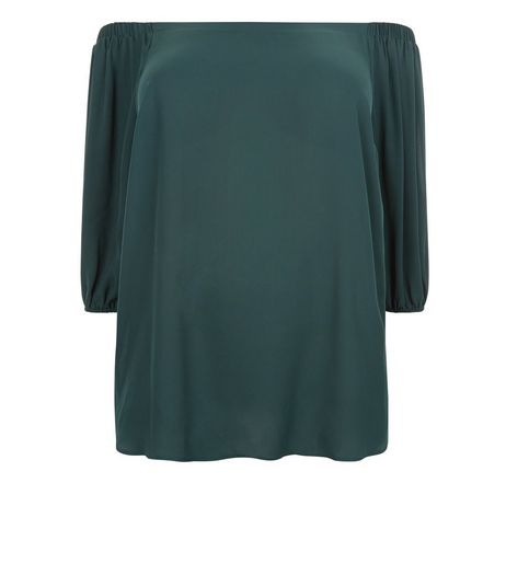 Curves Dark Green Bardot Neck Top | New Look