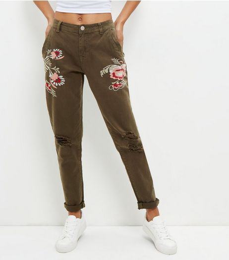Khaki Floral Embroidered Ripped Knee Trousers  | New Look
