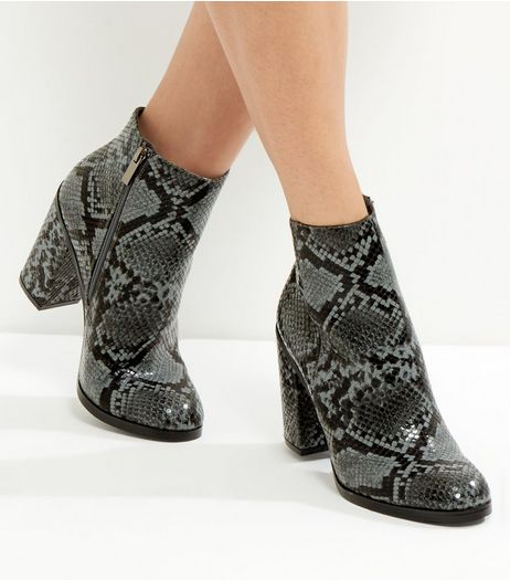 Grey Snakeskin Block Heel Boots | New Look
