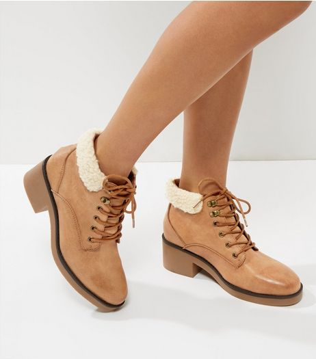 Tan Shearling Top Lace Up Boots | New Look