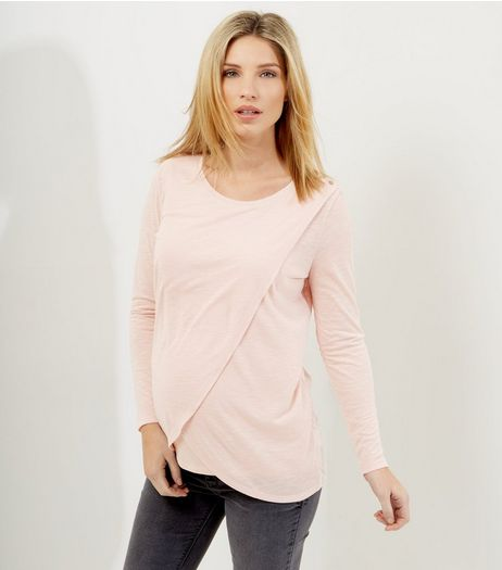 Maternity Shell Pink Wrap Long Sleeve Nursing T-Shirt | New Look