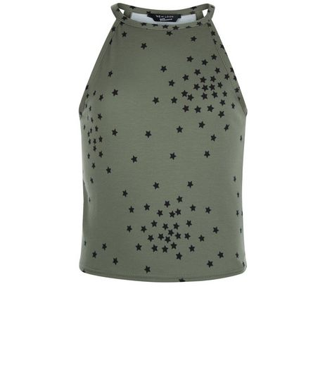 Teens Khaki Star Print High Neck Cami | New Look