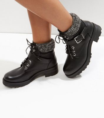 Black Knitted Cuff Lace Up Boots