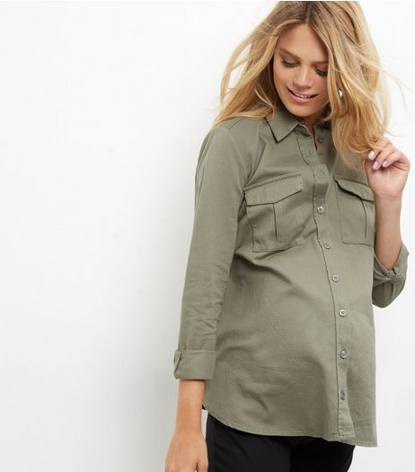 Maternity Khaki Double Pocket Long Sleeve Shirt | New Look