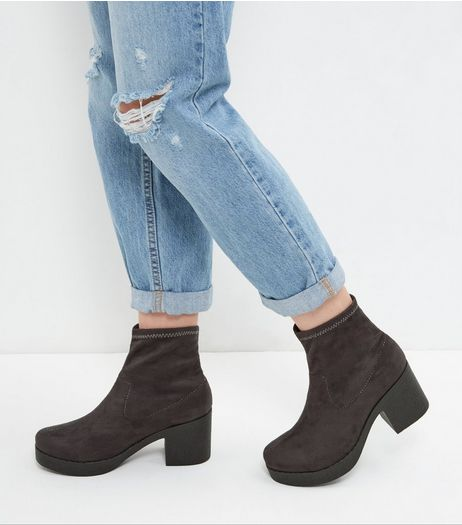 Grey Suedette Heeled Boots | New Look