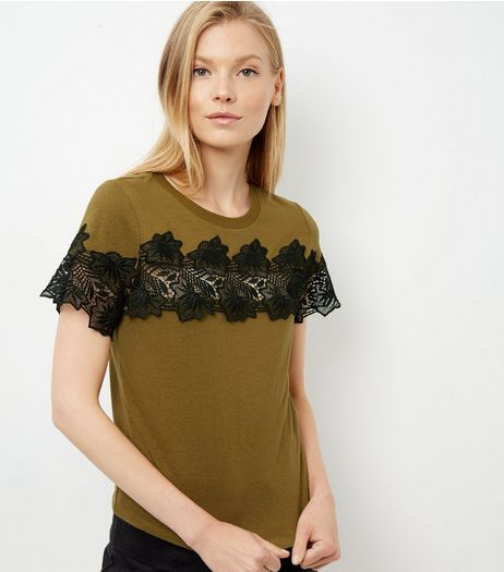 Khaki Lace Trim T-Shirt  | New Look