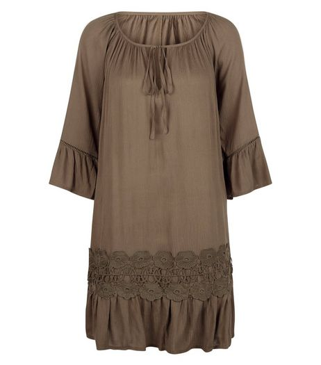 Apricot Khaki Lace Panel Peplum Hem Dress | New Look
