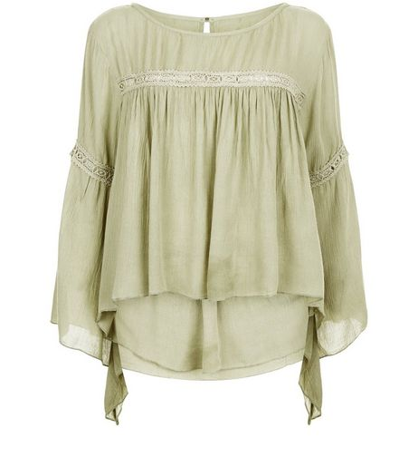 Apricot Khaki Lace Trim Bell Sleeve Top | New Look