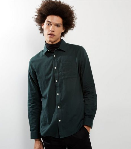 Dark Green Single Pocket Long Sleeve Shirt | New Look