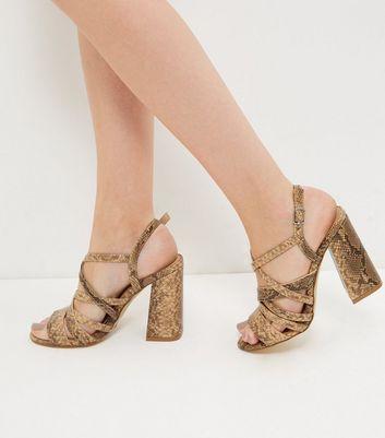Sandalo  donna Black Snakeskin Print Strappy Block Heels