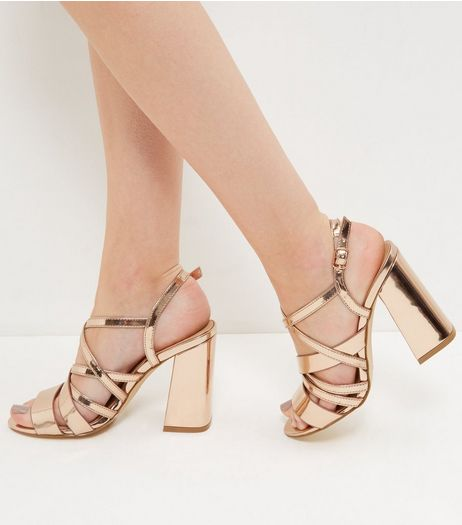 Rose Gold Strappy Block Heels | New Look