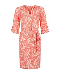 Apricot Orange Abstract Print Shirt Dress | New Look