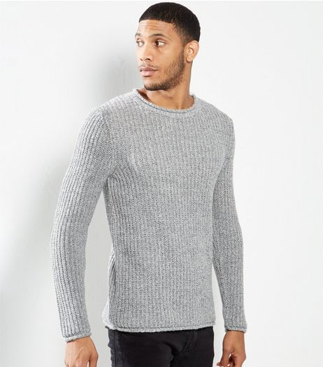 Grey Cast Off Wrapped Yarn Crew Neck Jumper | New Look