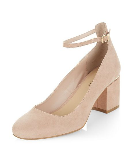 Cream Diamante Trim Suedette Ankle Strap Block Heels | New Look