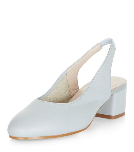 Pale Grey Leather Sling Back Court Shoes | New Look