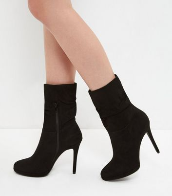Black Suedette Ruched Calf High Heeled Boots