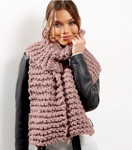 Pink Chunky Knit Scarf | New Look
