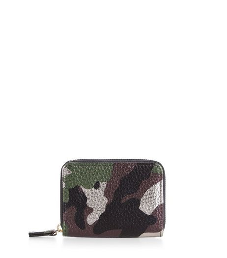 Khaki Metallic Camo Print Cardholder | New Look