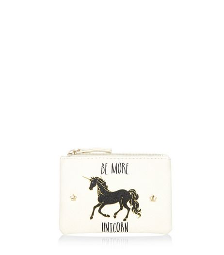 Cream Unicorn Slogan Zip Top Purse | New Look