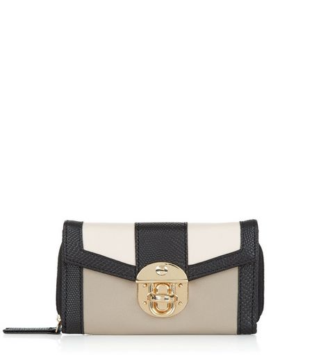 Stone Colour Block Purse | New Look