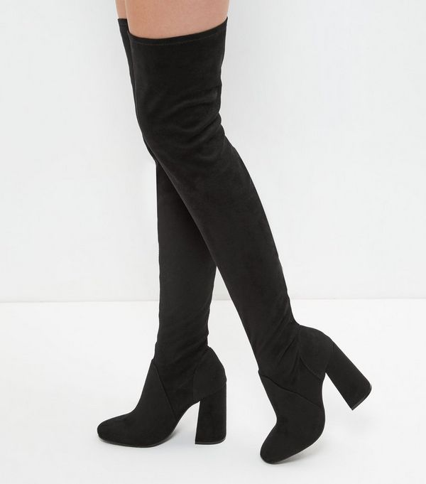 Black Suedette Flared Heel Over The Knee Boots