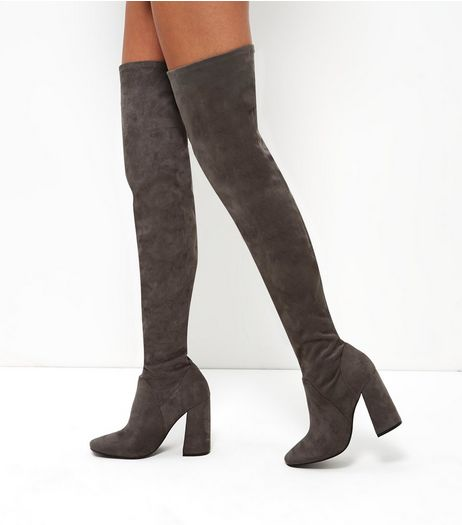 Grey Suedette Flared Heel Over The Knee Boots | New Look