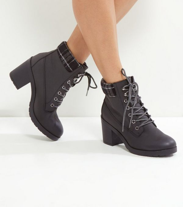 Black Check Top Lace Up Ankle Boots
