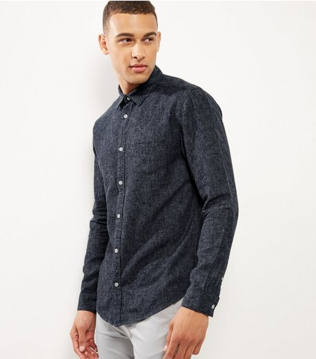Navy Brushed Linen Blend Single Pocket Long Sleeve Shirt  | New Look