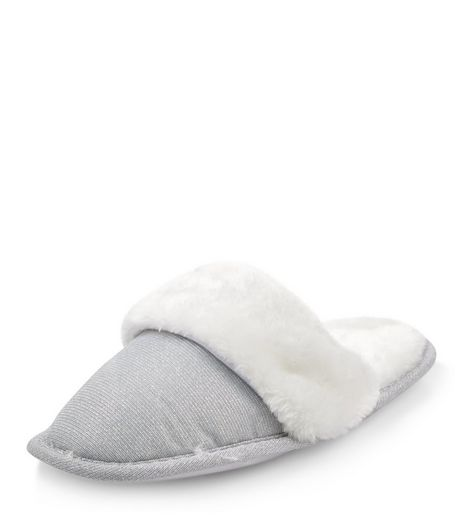Teens Grey Faux Fur Trim Mule Slippers | New Look