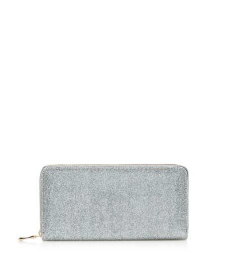 Silver Glitter Zip Around Purse | New Look
