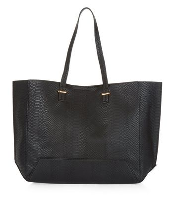 Black Snakeskin Textured Shopper Bag