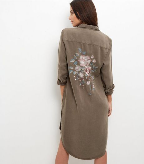 Anita and Green Khaki Floral Embroidered Shirt Dress | New Look