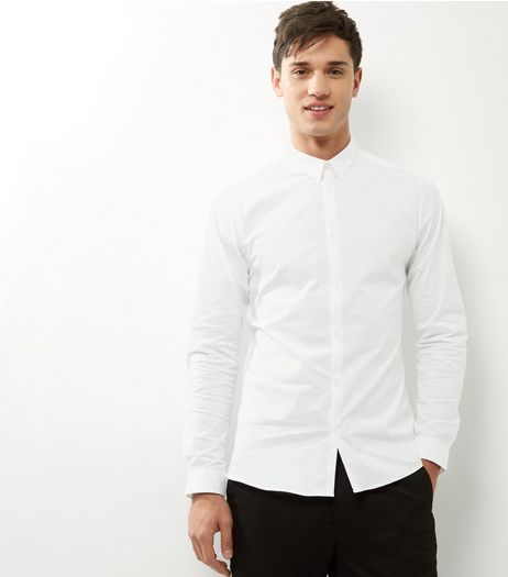 White Stretch Slim Fit Long Sleeve Shirt | New Look