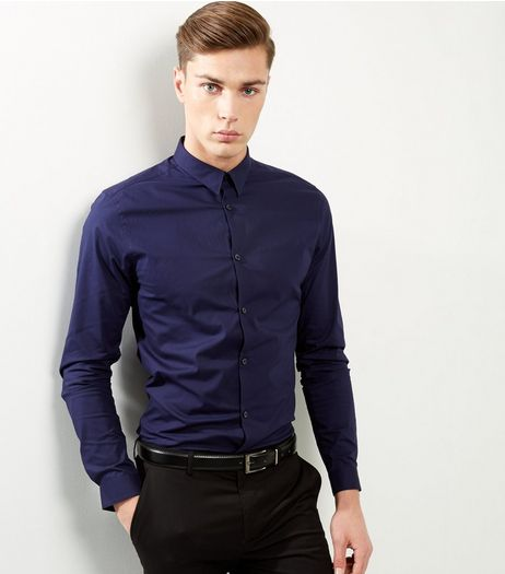 Blue Slim Fit Long Sleeve Shirt | New Look