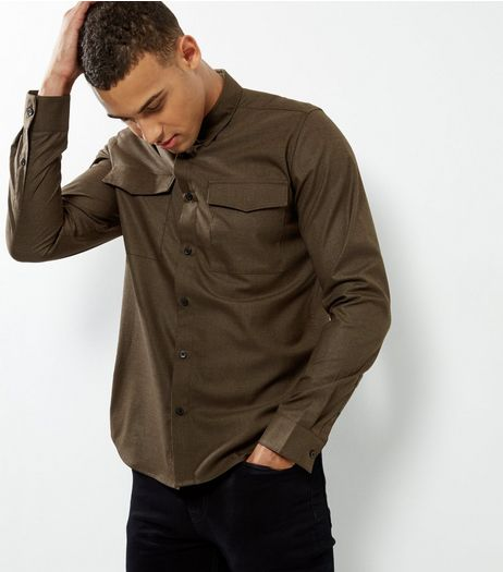 Khaki Double Pocket Long Sleeve Shirt | New Look