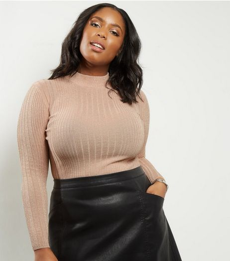 Curves Shell Pink Ribbed Metallic Funnel Neck Jumper  | New Look