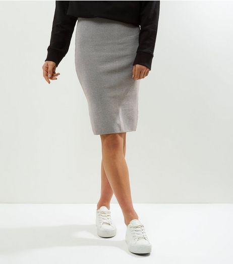 Petite Grey Black Split Pencil Skirt | New Look